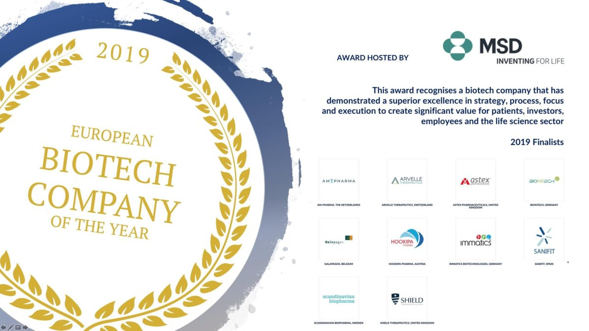 We are one of the Biotech Company of the Year finalists at the 2019 European Lifestars Awards!